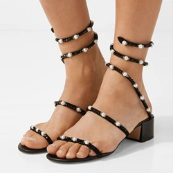 Shoespie Beads Strappy Block Heel Dress Sandal
