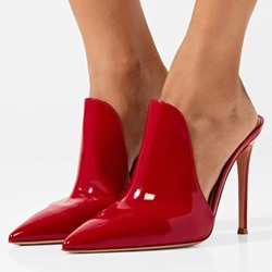 Shoespie Red Slip-On Pointed Closed Toe Mules Stiletto Heel