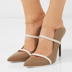 Shoespie Casual Pointed Toe Slip-On Color Block Stiletto Heel