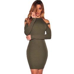 ShoespieRound Neck Off-The-Shoulder Long Sleeve Bodycon Dress