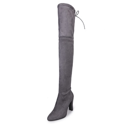 Shoespie Side Zipper Stiletto Heel Short Floss Lace-Up Knee High Boot