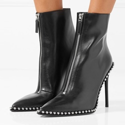 Shoespie Beads Purfle Stiletto Heel Front Zipper Ankle Boot