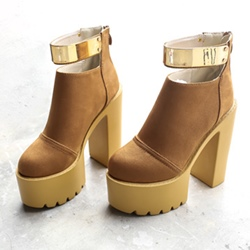 Shoespie Sequin Platform Chunky Heel Back Zip Ankle Boot