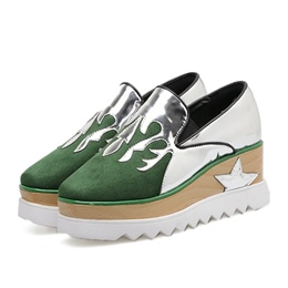 Shoespie Square Toe Platform Slip-On Color Block Wedge Heel Sneaker