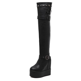 Shoespie Slip-On Rivet Platform,Buckle Hidden Elevator Heel Knee High Boot