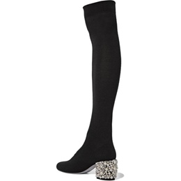 Shoespie Black Beads Knee High Boots