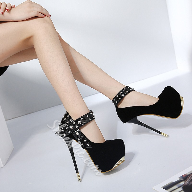Shoespie Rivet Stiletto Heel Line-Style Buckle Platform Heel