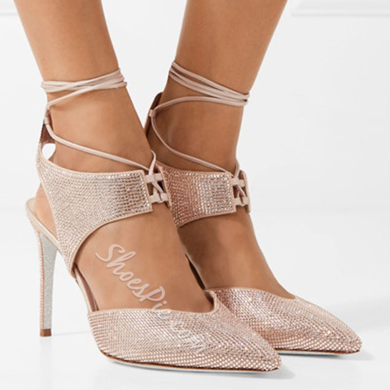 Shoespie Pointed Toe Diamond Lace-Up Stiletto Heel