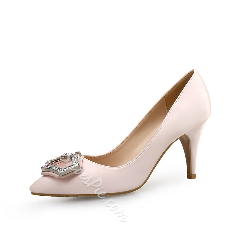 Shoespie Stiletto Heel Pointed Toe Slip-On Rhinestone Low Heel