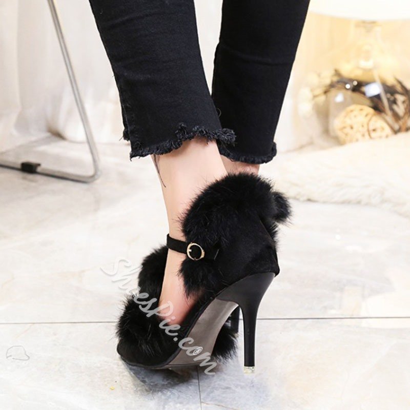 Shoespie Pointed Toe Line-Style Buckle Stiletto Heel