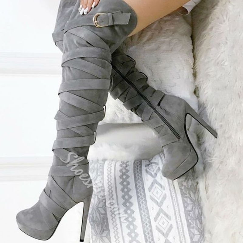 Shoespie High Stiletto Heel Knee High Boots