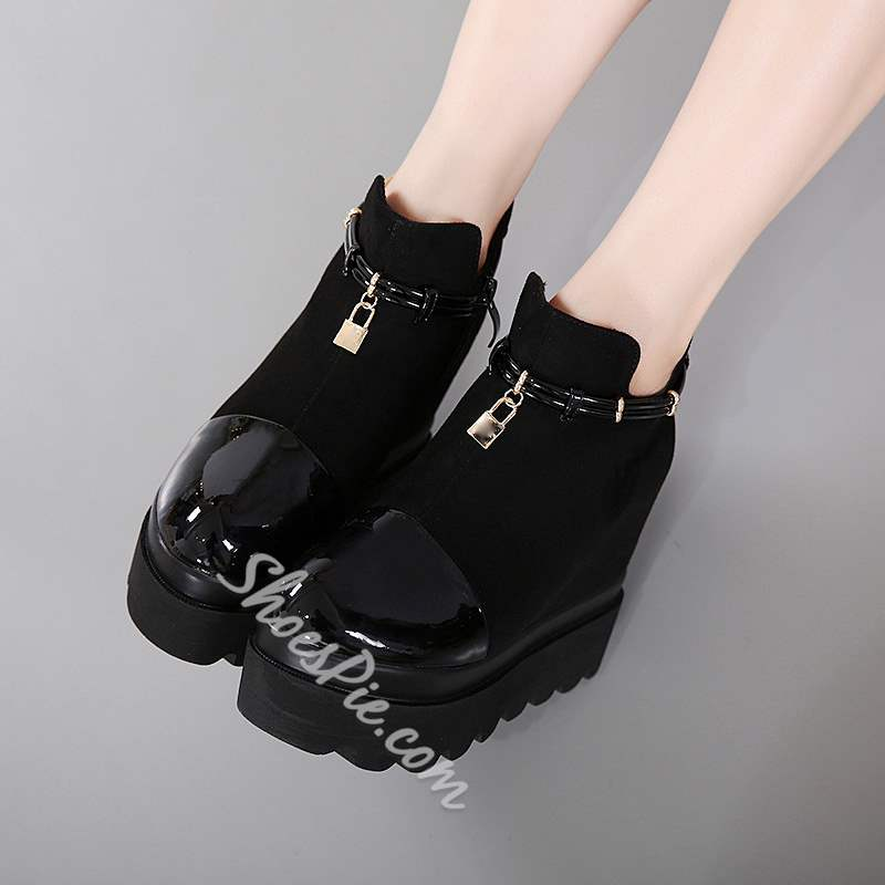Shoespie Chain Sequin Platform Side Zipper Hidden Elevator Heel Boot