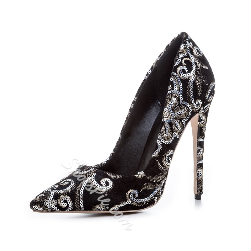 Shoespie Sequin Embroidery Pointed Toe Stiletto Heel