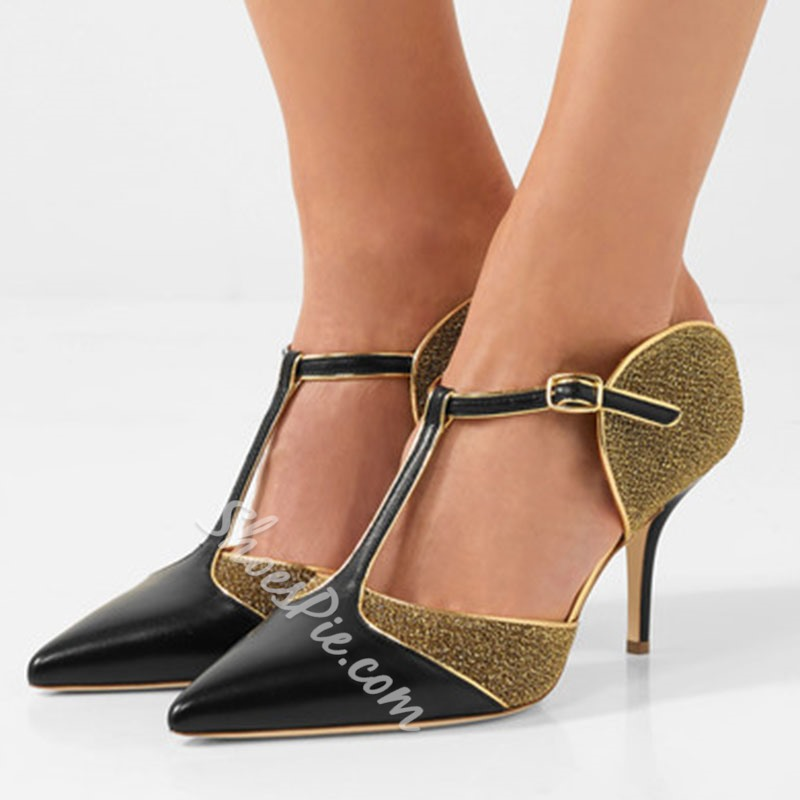 ShoespiePointed Toe T-Shaped Buckle Patchwork Color Block Stiletto Heel