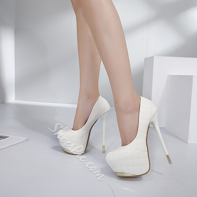 Shoespie Stiletto Heel Slip-On Platform Heel