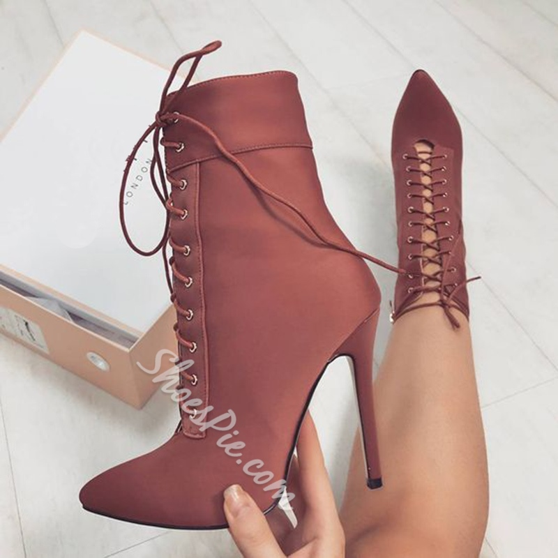 Shoespie Pointed Toe Lace-Up Front Stiletto Heel Ankle Boot