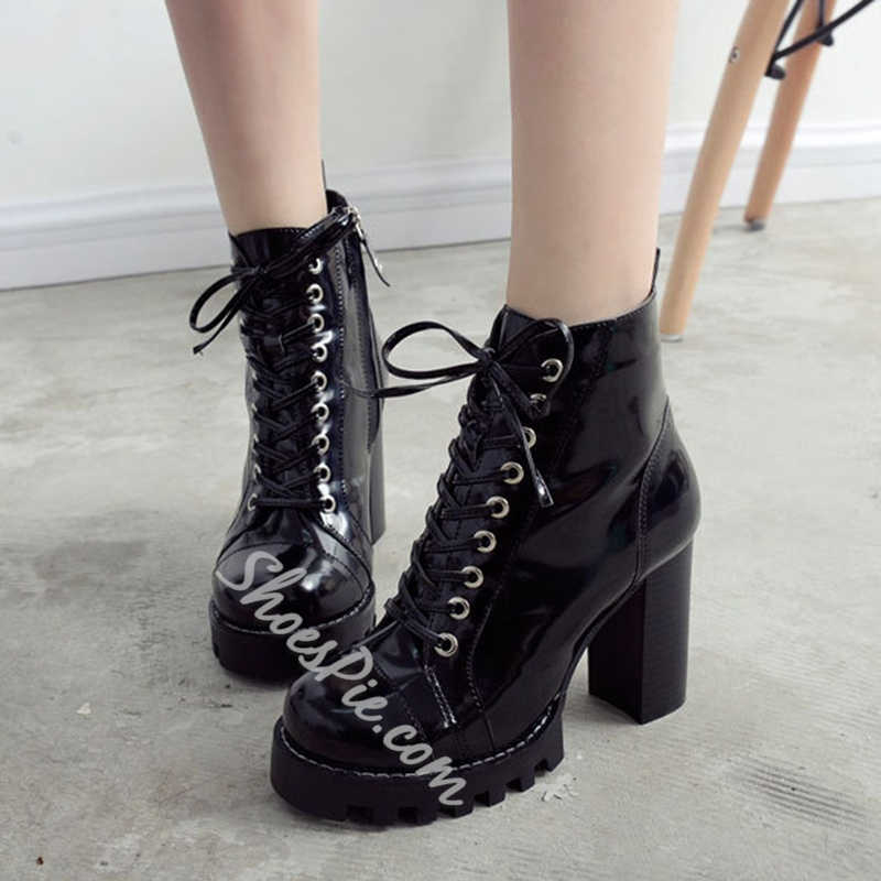 Shoespie Cross Strap Chunky Heel Side Zipper Platform Ankle Boot