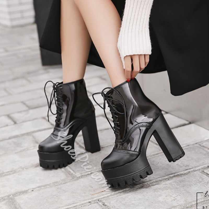 Shoespie See-Through Platform Lace-Up Front Chunky Heel Ankle Boot