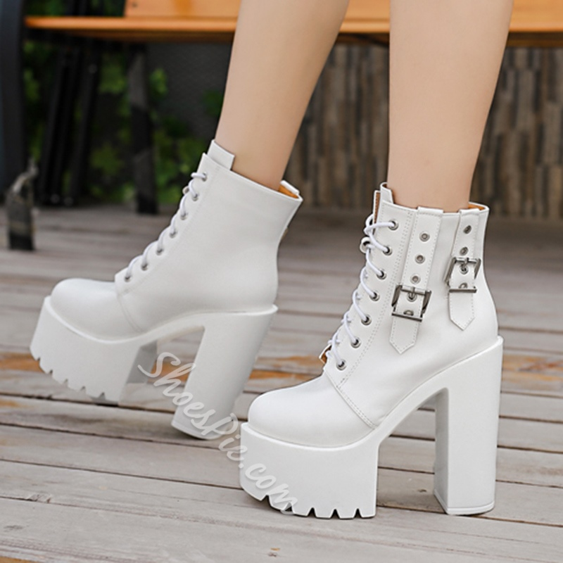 Shoespie Lace-Up FrontPlatform Buckle Chunky Heel Martin Boot
