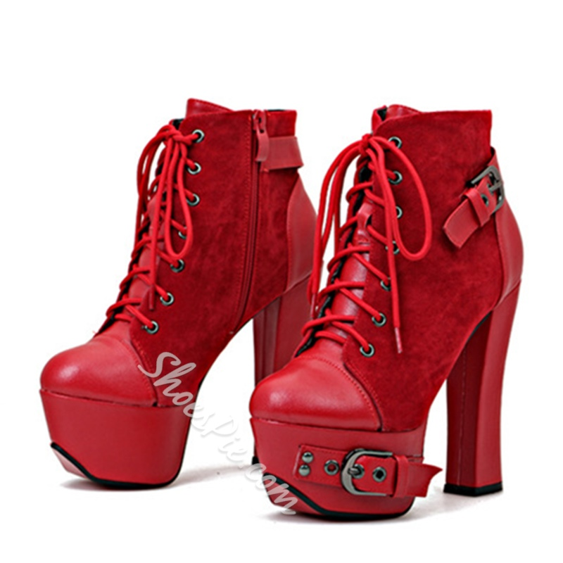 Shoespie Platform Buckle Lace-Up Front Chunky Heel Short Floss Ankle Boot