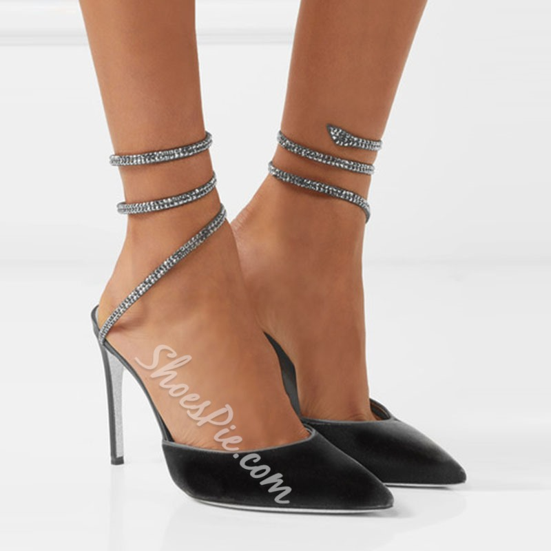 Shoespie Rhinestone Ankle Strap Stiletto Heel