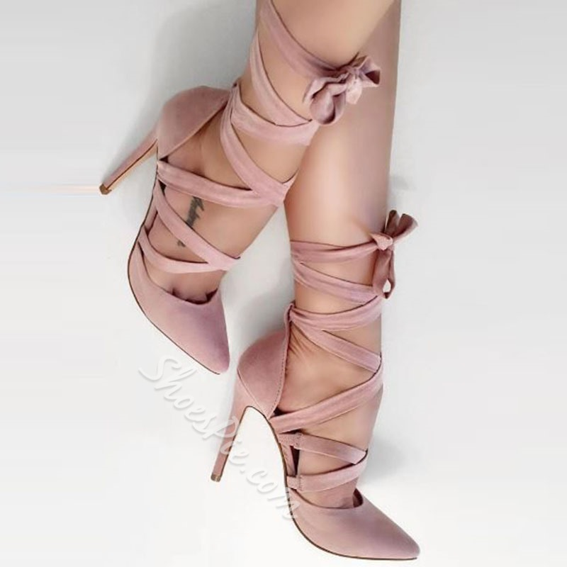 Shoespie Pink Pointed Toe Lace-Up Stiletto Heel