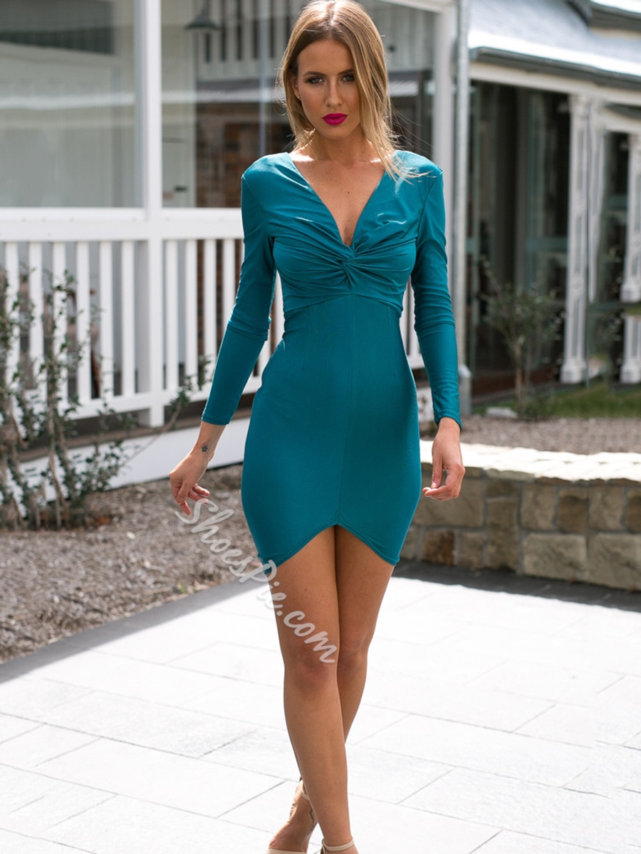 Shoespie V-Neck Backless Zipper Long Sleeve Bodycon Dress