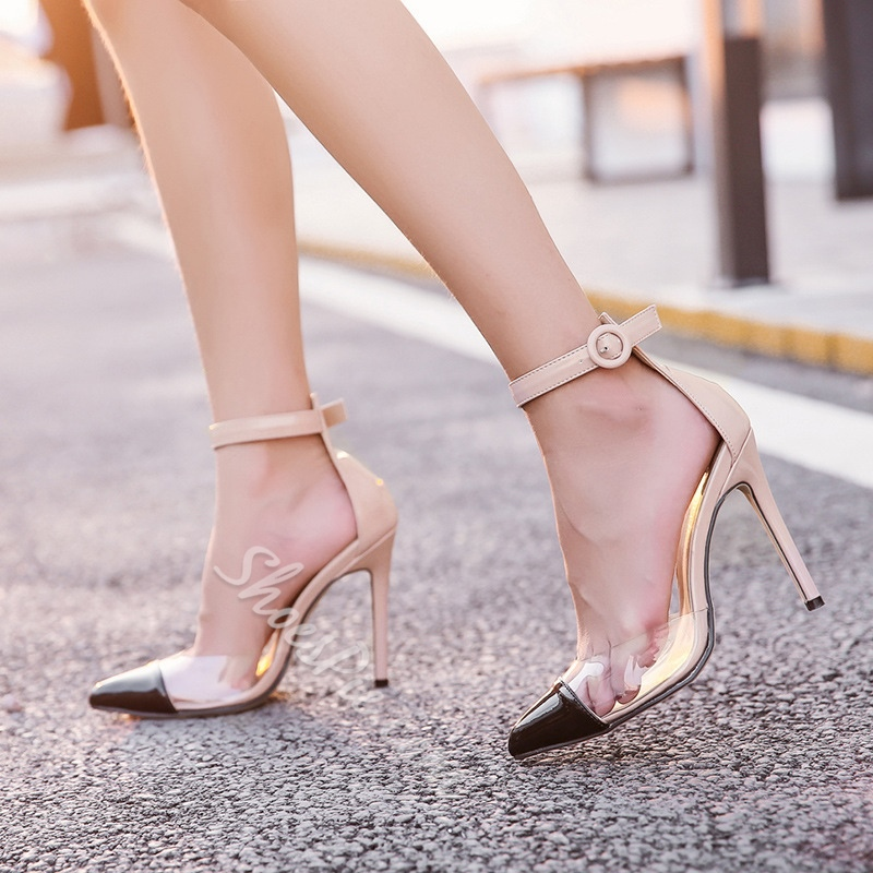 Shoespie Line-Style Buckle Color Block Stiletto Heel