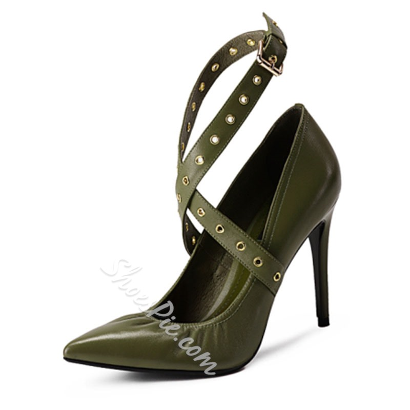 Shoespie Green Pointed Toe Strappy Stiletto Heel