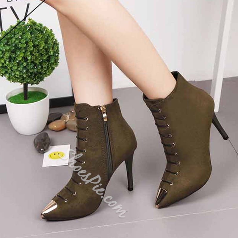 Shoespie Sequin Lace-Up Side Zipper Stiletto Heel Ankle Boot