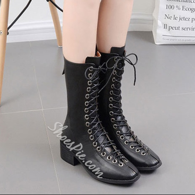 Shoespie Square Toe Lace-Up Front Block Heel Martin Boot