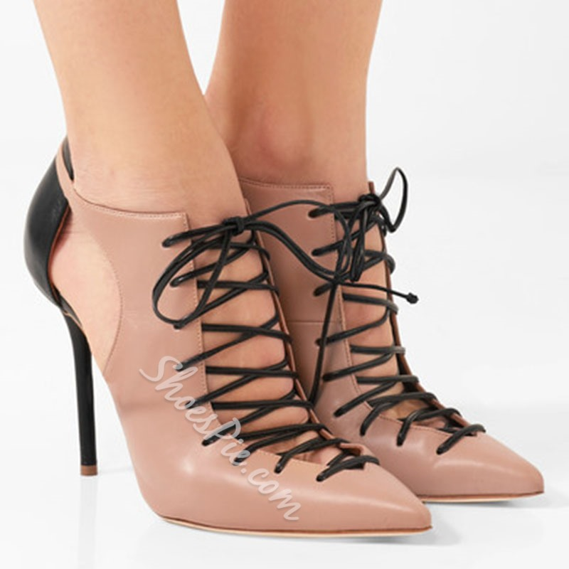Shoespie Pointed Toe Lace-Up Color Block Stiletto Heel