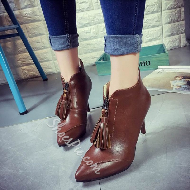Shoespie Pointed Toe Fringe Front Zipper Stiletto Heel Ankle Boot