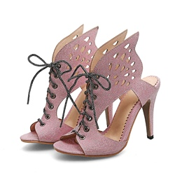 Shoespie Cross Strap T-Straps Hollow Stiletto Heel