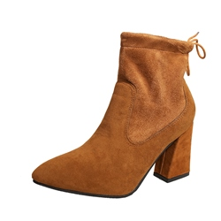 Shoespie Pointed Toe Chunky Heel Lace-Up Back Ankle Boot