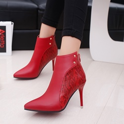 ShoespiePointed Toe Stiletto Heel Back Zip Ankle Boot