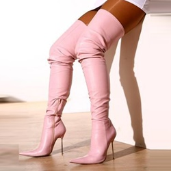 Shoespie Pink Stiletto Heel Thigh High Boots