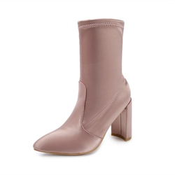 Shoespie Pointed Toe Chunky Heel Slip-On Ankle Boot