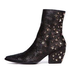 Shoespie Sequin Chunky Heel Pointed Toe Side Zipper Ankle Boot