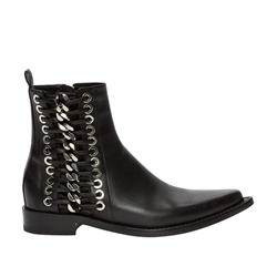 Shoespie Pointed Toe Chain Sequin Side Zipper Ankle Boot
