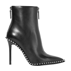Shoespie Beads Purfle Back Zip Stiletto Heel Ankle Boot