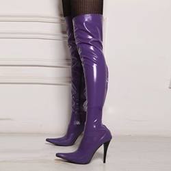 Shoespie Purple Stiletto High Heel Knee High Boots