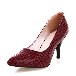 Shoespie Slip-On Pointed Toe Alligator Pattern Stiletto Heel