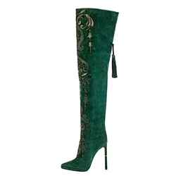 Shoespie Fringe Lace-Up Floral Side Zipper Knee High Boot