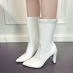 Shoespie Pointed Toe Slip-On Chunky Heel Fashion Ankle Boot