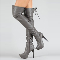Shoespie Side Zipper Stiletto Heel Platform Lace-Up Knee High Boot