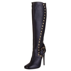 Shoespie Stiletto Heel Rivet Buckle Casual Side Zipper Knee High Boot
