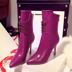 ShoespiePointed Toe Cross Strap Stiletto Heel Back Zip Ankle Boot