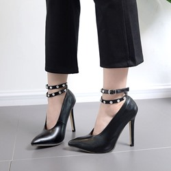 Shoespie Rivet Buckle Pointed Toe Stiletto Heel