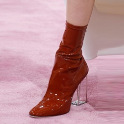 Patent Leather Chunky Heel Women's Boots
